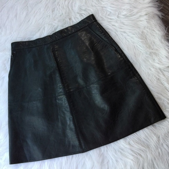 2a1e1cd4 Black Back Zipper Pocket A Line Mini Leather Skirt